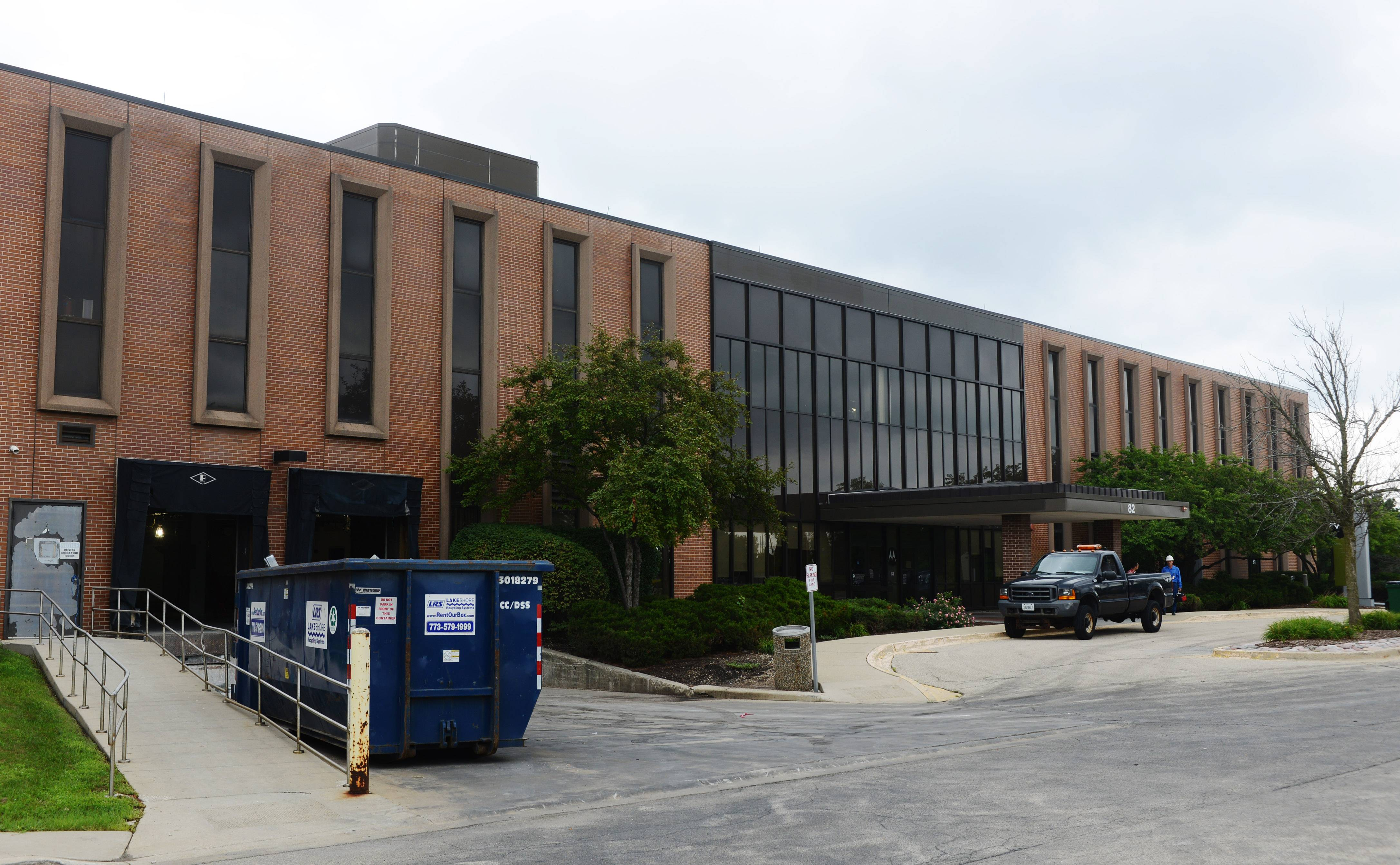 "Interior construction on this two-story structure, ""Door 82,"" is taking place on the Motorola Solutions campus in Schaumburg. It is one of two buildings that will be retained after the sale and redevelopment of the rest of the Schaumburg campus."