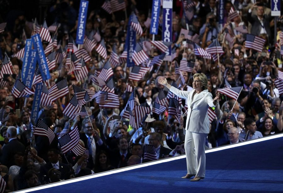 Democratic presidential candidate Hillary Clinton takes the stage during the final day of the Democratic National Convention Thursday.