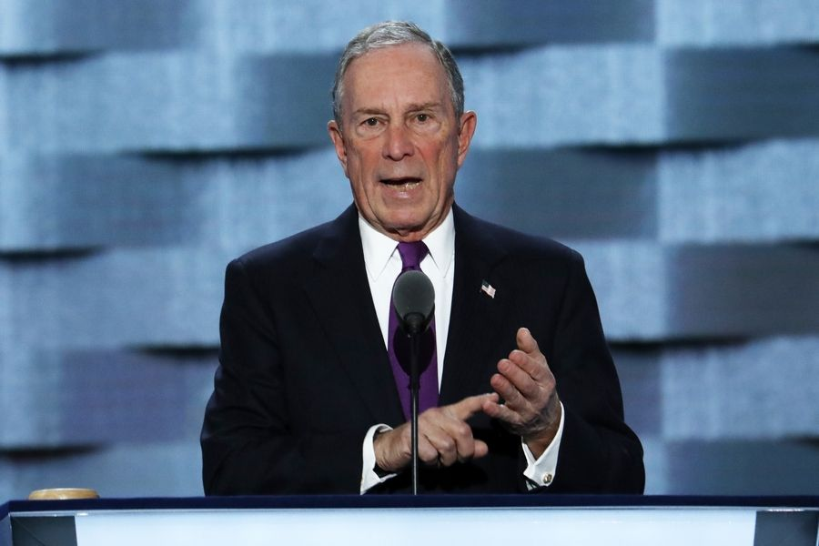 Former New York City Mayor Michael Bloomberg speaks during the Democratic National Convention in Philadelphia.