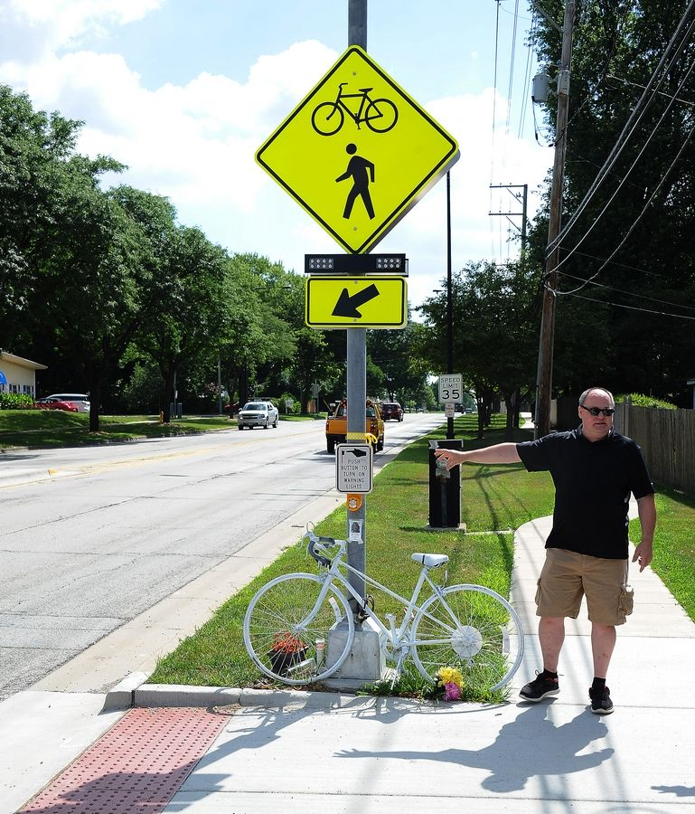 Eric Jakubowski of Mount Prospect thinks the crosswalk on Central Road and Melas Park is confusing and gives a false sense of security. His wife died of injuries related to being hit by an SUV there in June.