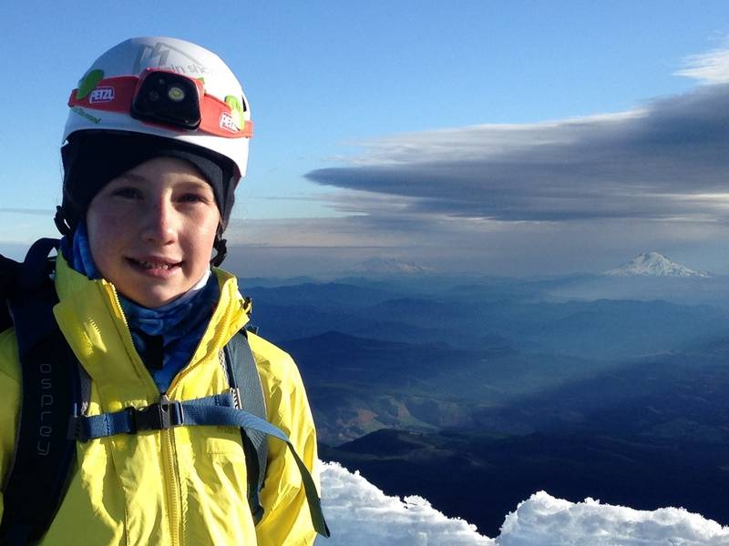 Lucy Westlake of Naperville has her head in the clouds atop Mount Hood in Oregon, which she climbed in June 2015.