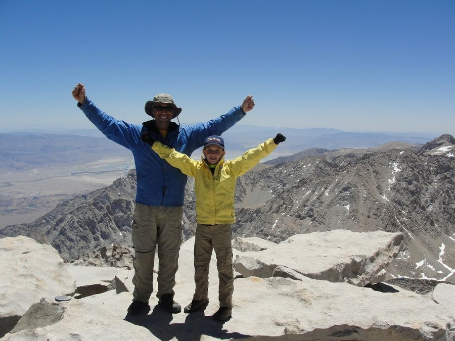 Rodney and Lucy Westlake celebrate in 2014 as they summit Mount Whitney in California, the highest peak in the lower forty-eight states at 14,505 feet tall.