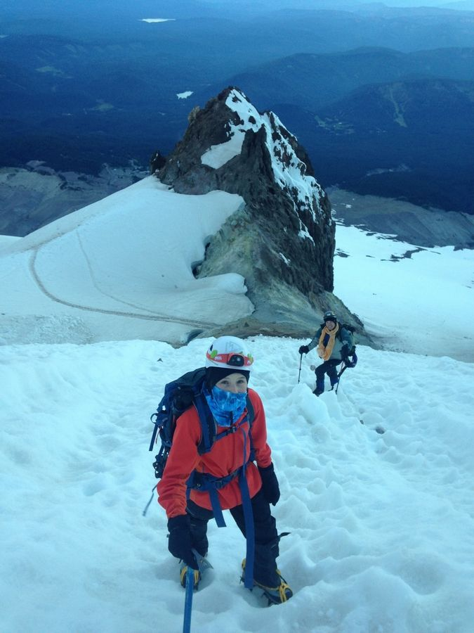 Lucy Westlake works to climb Mount Hood in Oregon in June 2015.