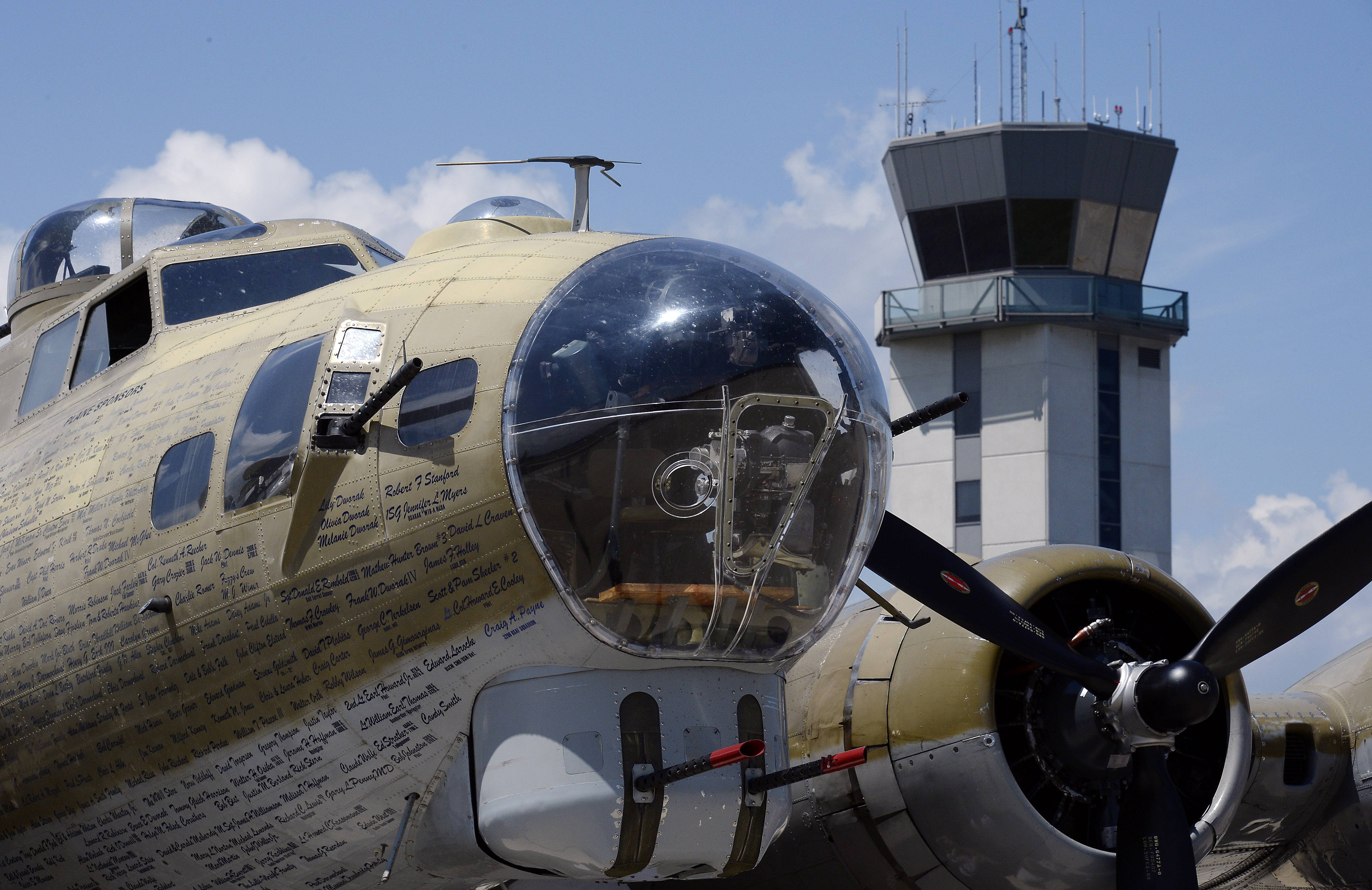 The World War II vintage Boeing B-17 Flying Fortress looms large on the tarmac at Chicago Executive Airport in Wheeling.