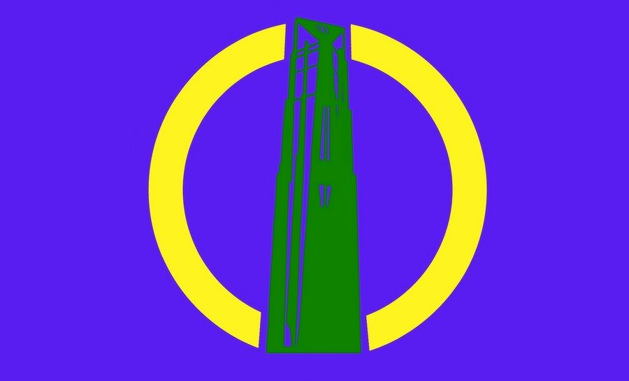 Designer Jeannie Lee incorporated the Millennium Carillon into this submission to a flag-design contest being run by a group of students from Neuqua Valley High School.