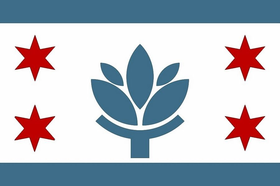 Some designs submitted to a Naperville flag design contest are reminiscent of the city of Chicago's flag, such as this version submitted by Jacob Olsen.