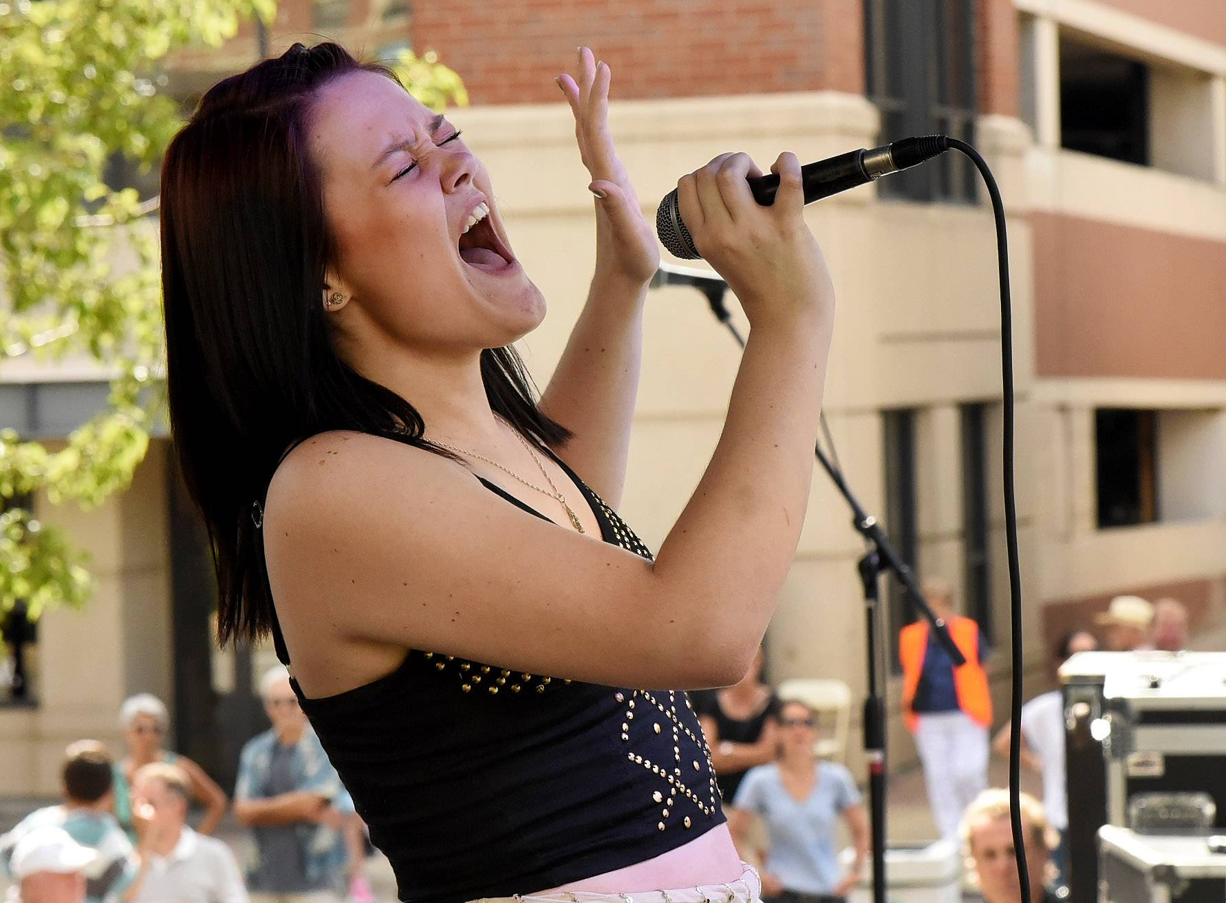 This year's winner of Suburban Chicago's Got Talent, San Star Sandberg, performs her act in front of a packed house at the Taste of Arlington Heights in Harmony Park.