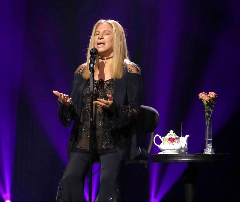 "Barbra Streisand performs during the ""Barbra -- The Music ... The Mem'ries ... The Magic!"" tour at Chicago's United Center Tuesday."