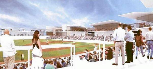 A rendering shows the proposed 6,300-seat baseball stadium in Rosemont that is expected to become home to a new team in the American Association of Independent Professional Baseball.