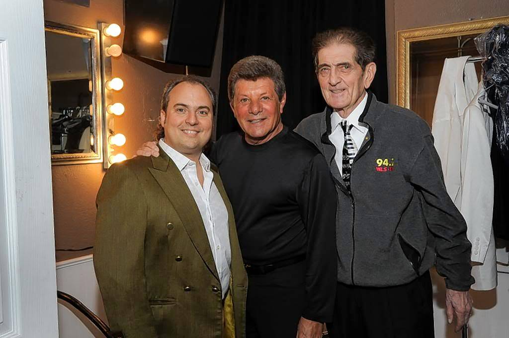 Ron Onesti of the Arcada Theatre, left, with singer Frankie Avalon, center, and disc jockey Dick Biondi.