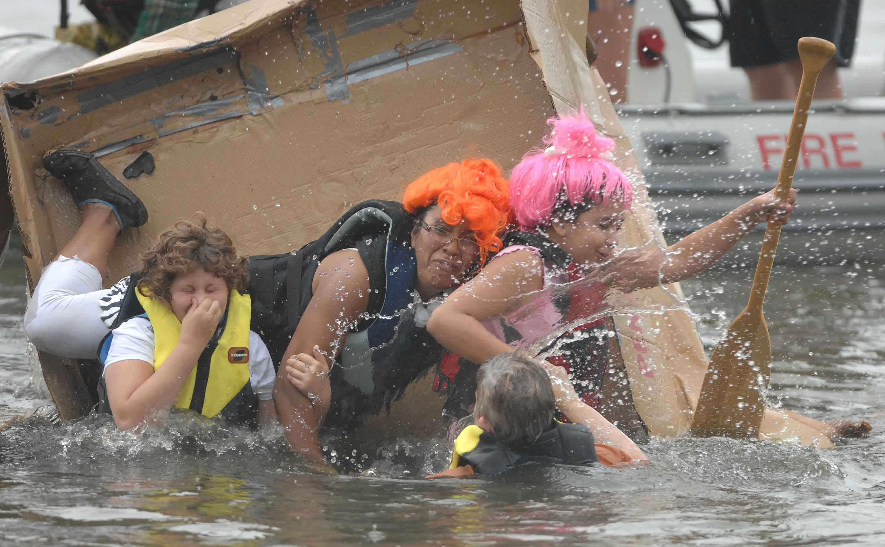 "Sinking is even more fun than floating in the 14th annual ""What Floats Your Cardboard Boat Race"" to be held Saturday morning in Aurora's Phillips Park."