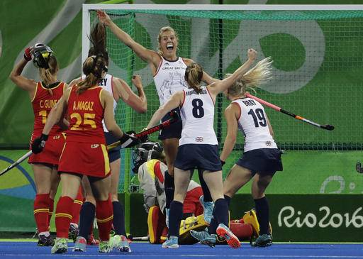 Britains Georgie Twigg Center Background Celebrates After She Scored Against Spain During A Womens