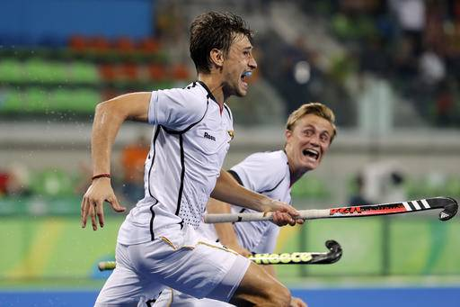 Germany's Florian Fuchs celebrates after scoring against New Zealand and winning the match during a men's field hockey quarter final match at the 2016 Summer Olympics in Rio de Janeiro, Brazil, Sunday, Aug. 14, 2016. (AP Photo/Dario Lopez-Mills)