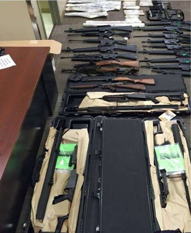 Machine guns and hand grenades were recovered Friday from an Elgin storage unit rented by Juan Mexicano, 31, of Addison.