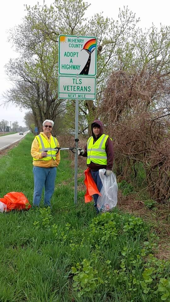 Ed Morrisette and Doug Fullerton do cleanup along the stretch of road that TLS Veterans signed up to keep clean.
