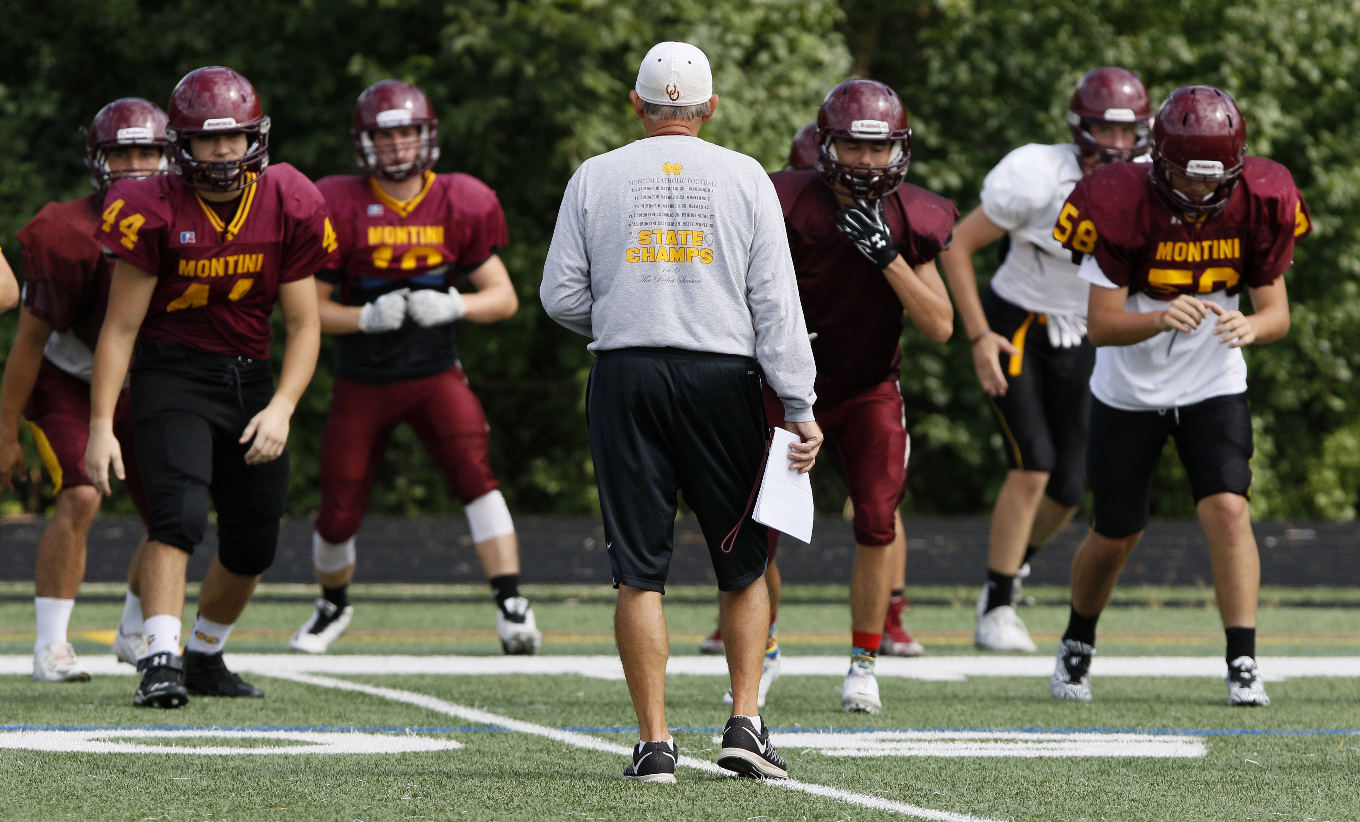 Montini Catholic football coach Chris Andriano looks to defend last years' perfect season, where the Broncos won a state championship with a 14-0 record.