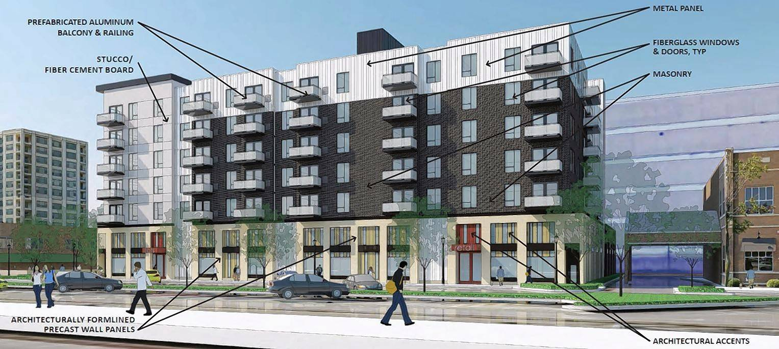 An Opus Development rendering shows the proposed 7-story, 108-unit apartment building at 1555-1565 Ellinwood Ave. in Des Plaines.