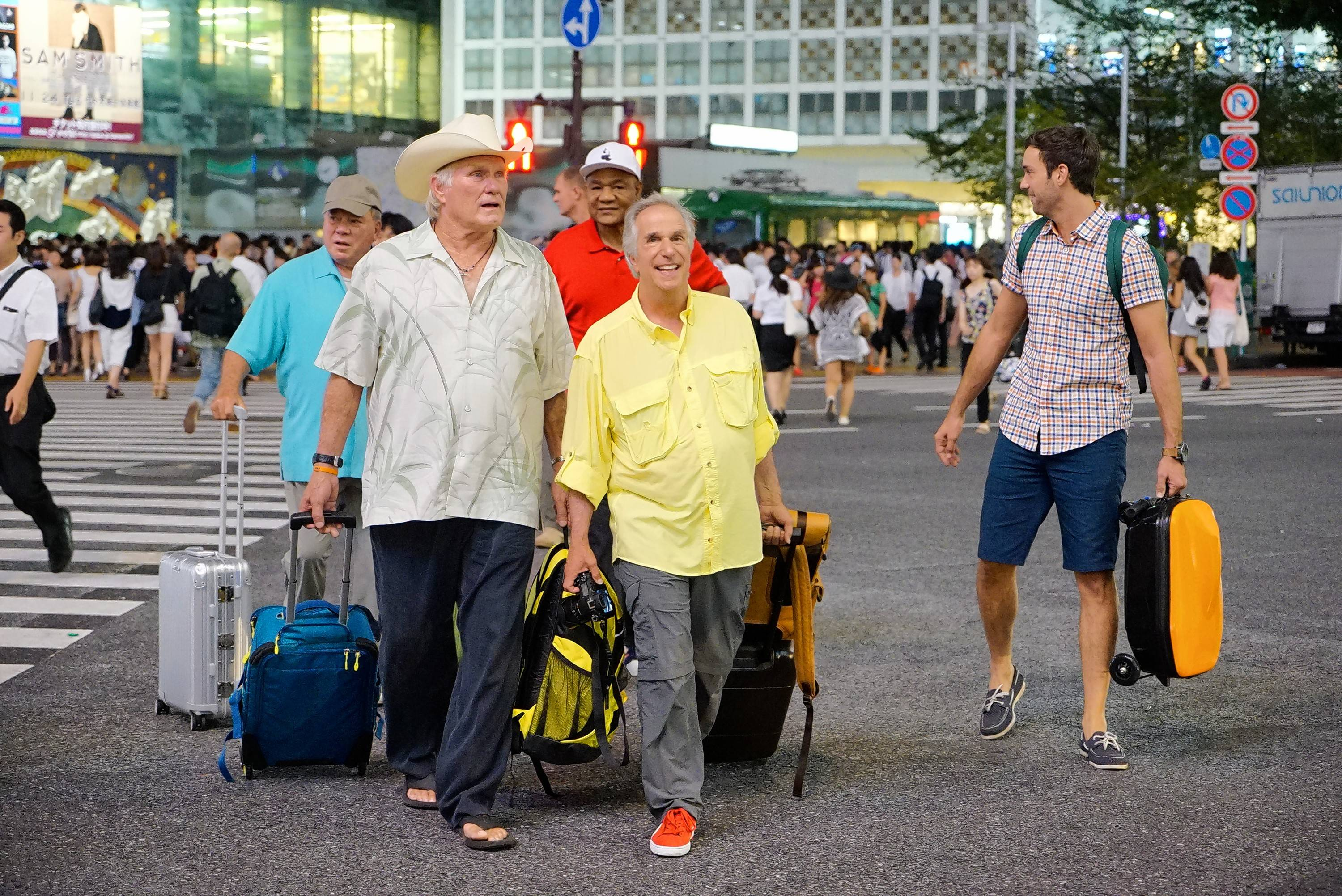 "William Shatner, left, Terry Bradshaw, George Foreman, Henry Winkler and comedian Jeff Dye set out for a trip through Asia in the NBC reality series ""Better Late Than Never."""