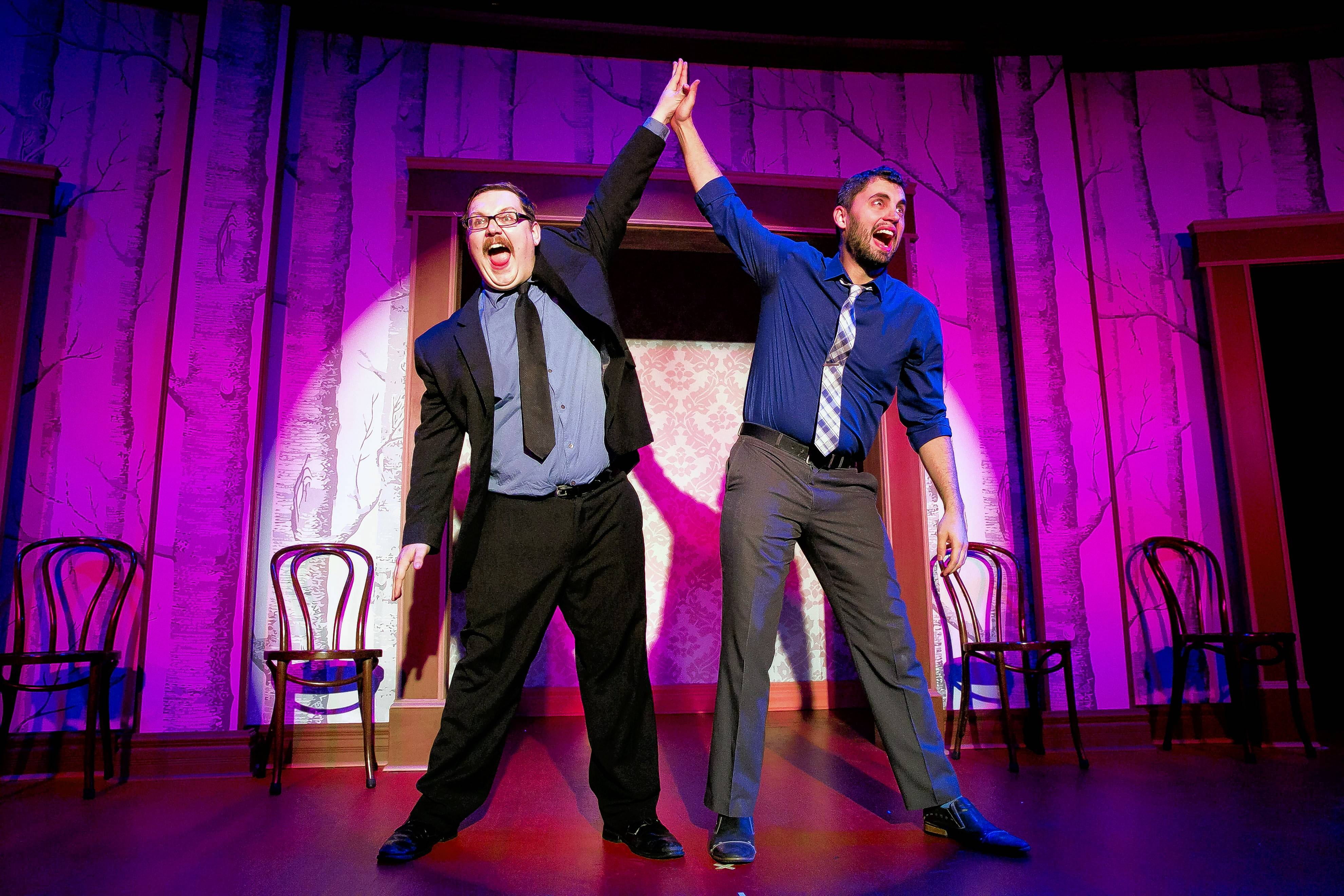"Jeff Murdoch, left, and Chucho Perez perform in The Second City's ""Free Speech! (While Supplies Last)"" Saturday, Aug. 27, at the Paramount Theatre in Aurora."