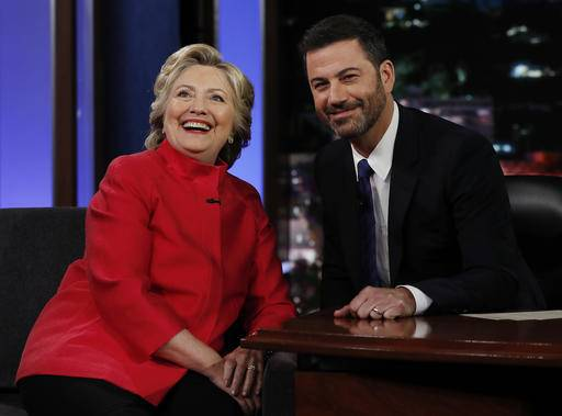 "Democratic presidential nominee Hillary Clinton pauses to pose for a photograph as she talks with Jimmy Kimmel during a break in taping of ""Jimmy Kimmel Live!"" in Los Angeles, Monday, Aug. 22, 2016. (AP Photo/Carolyn Kaster)"