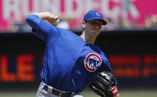 Chicago Cubs starting pitcher Kyle Hendricks works against the San Diego Padres in the first inning of a baseball game Wednesday, Aug. 24, 2016, in San Diego. (AP Photo/Lenny Ignelzi)