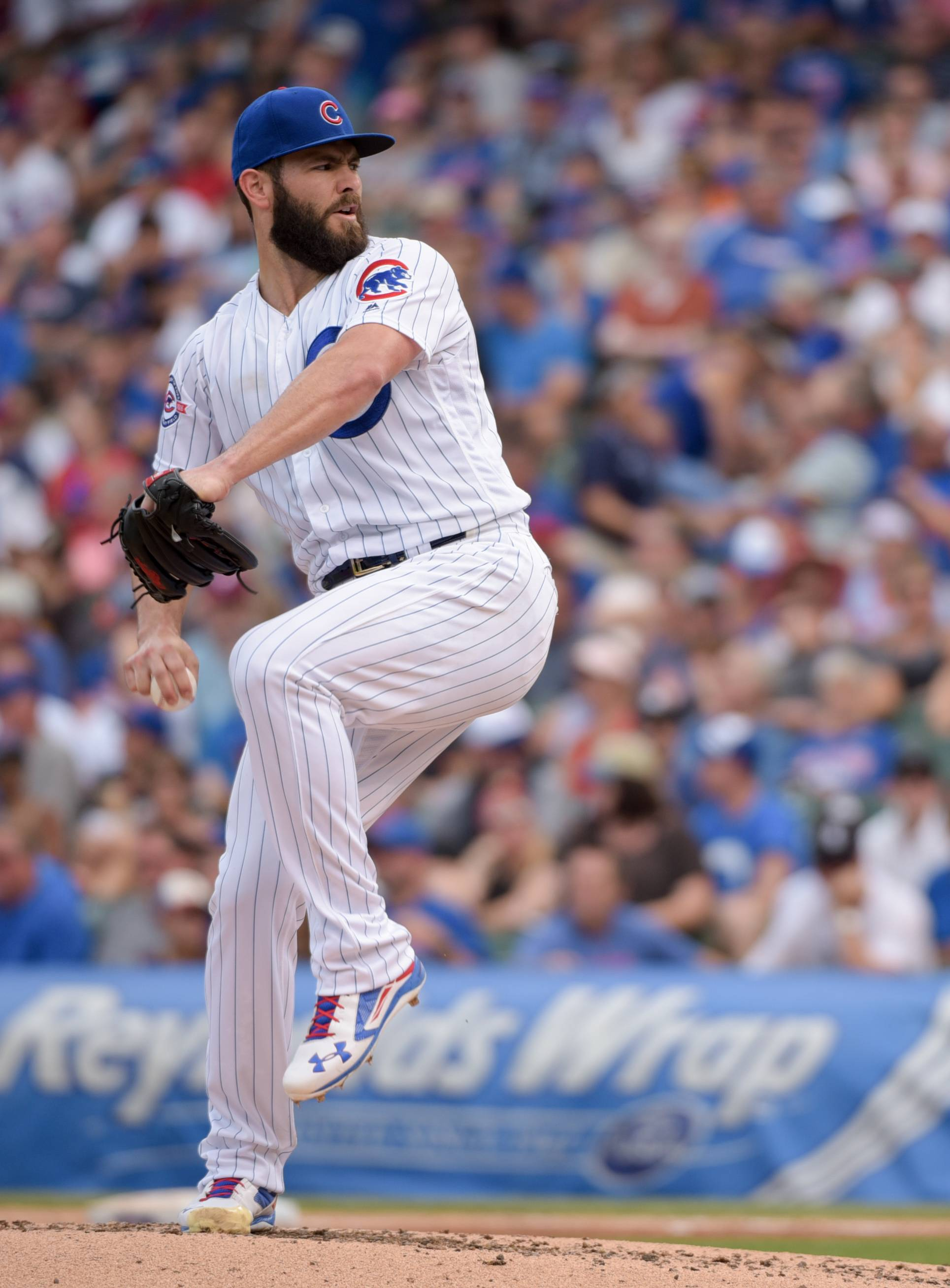 Cubs starting pitcher Jake Arrieta is the defending NL Cy Young Award winner. His ERA is 2.62.