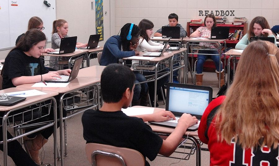 Marlowe Middle School students use their Chromebooks to take the state's new standardized test, PARCC, in the spring of 2015. Preliminary statewide results for the 2016 test show the number of students meeting/exceeding expectations on the exam declined in English language arts/literacy, and increased in math.