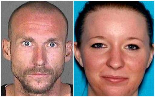 ADDS NAMES OF VICTIMS - This photo combination provided by the Los Angeles County Sheriff's Department shows Joshua Robertson and Brittany Humphrey, who authorities are seeking in connection with the killing of Kimberly Harvill and kidnapping of her three small children. Authorities say the couple may have left California with the children, Rylee Watkins, 5, Brayden Watkins, 3, and Joslynn Watkins, 2. (Los Angeles County Sheriff's Department via AP)