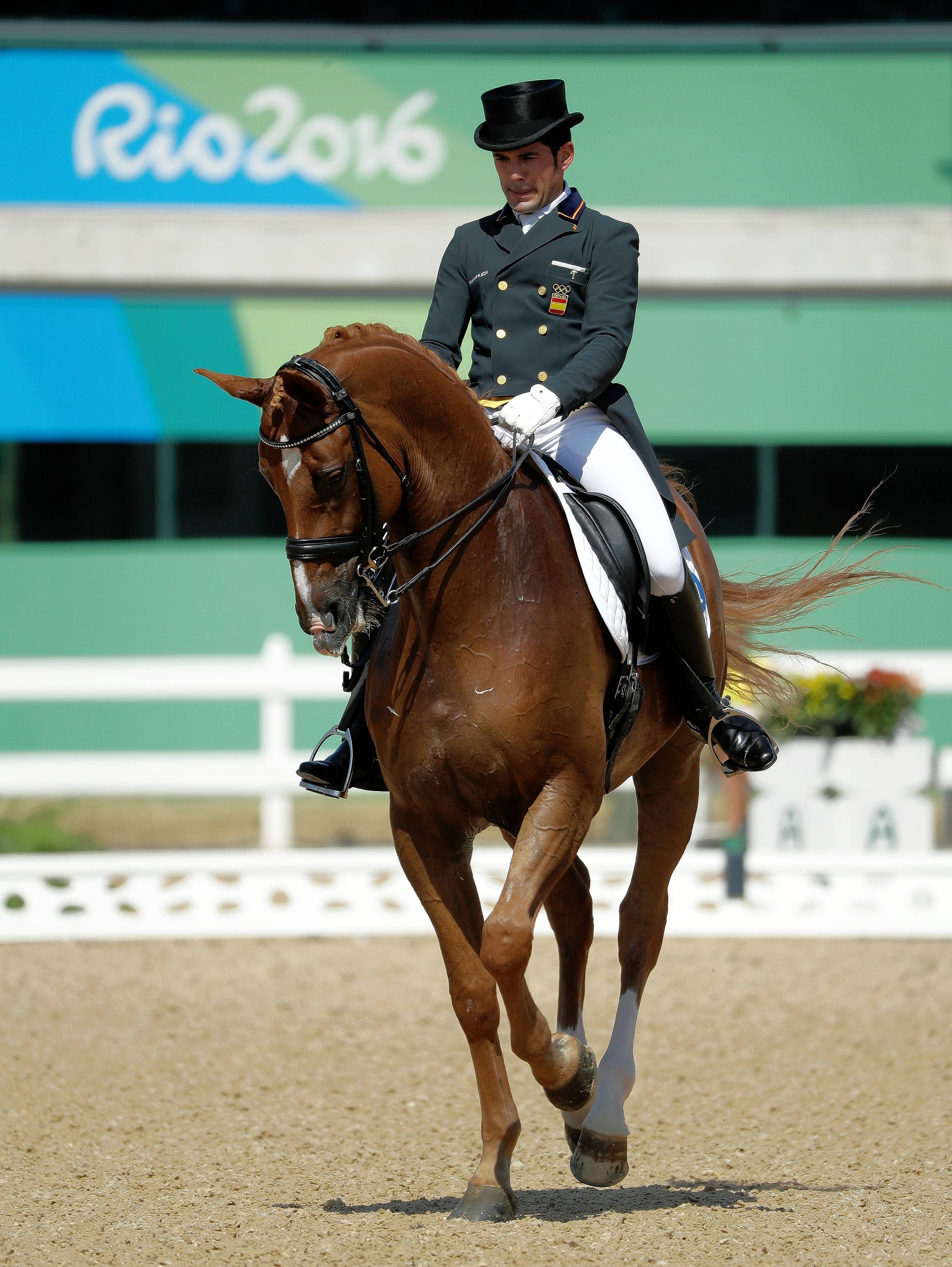 Spain's Severo Jesus Jurado Lopez, riding Lorenzo, competes in the equestrian dressage individual competition at the 2016 Summer Olympics in Rio de Janeiro, Brazil.