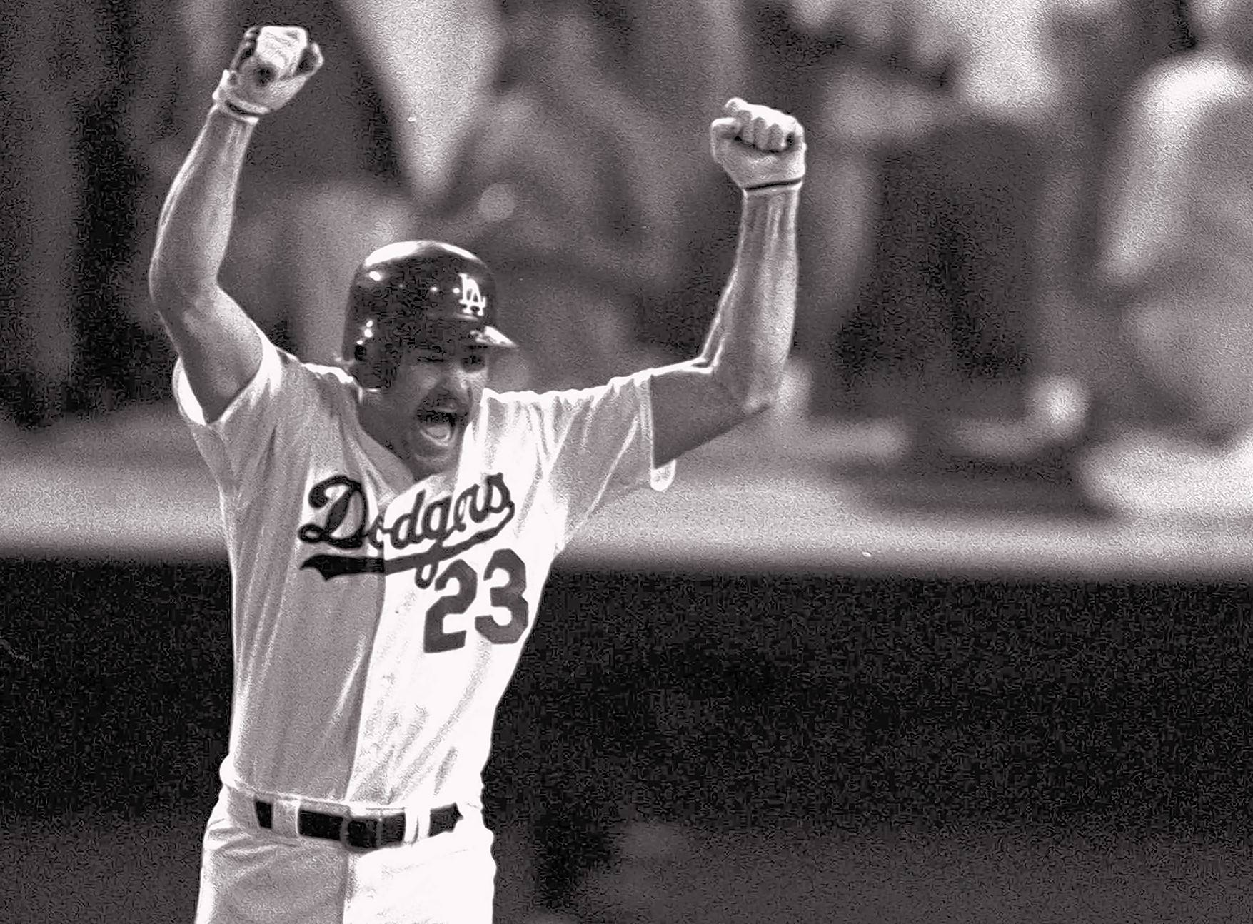 Vin Scully called the game when Los Angeles Dodgers' Kirk Gibson came off the bench and hit his game-winning two-run home run in the bottom of the ninth inning at Dodger Stadium to give Los Angeles a 5-4 win over the Oakland A's in the first game of the 1988 World Series.