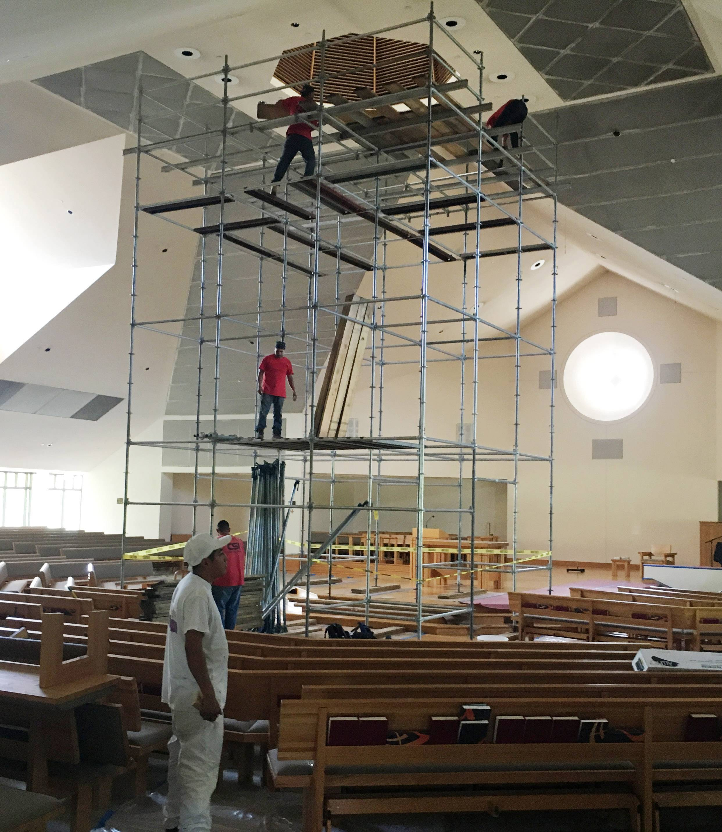 Scaffolding takes center stage as extensive restoration work is performed at St. Paul the Apostle Church in Gurnee.