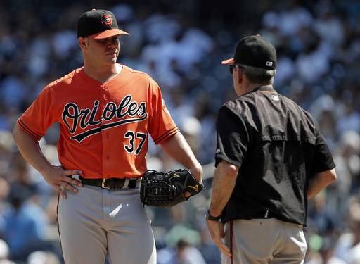 9b81b76c86e ... Baltimore Orioles starting pitcher Dylan Bundy talks with pitching  coach Dave Wallace during the fourth inning ...