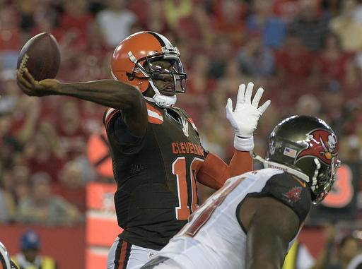 Cleveland Browns quarterback Robert Griffin III (10) throws a pass against the Tampa Bay Buccaneers during the first quarter of an NFL football game Friday, Aug. 26, 2016, in Tampa, Fla. (AP Photo/Phelan M. Ebenhack)