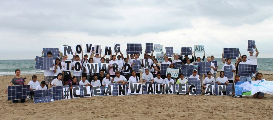 More than 100 Lake County residents came together today at Waukegan's municipal beach to restate their determination to continue moving toward a #CleanWaukegan. Karen Long MacLeod/Clean Power Lake County