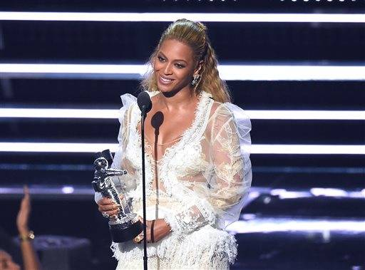 "Beyonce accepts the award for Video of the Year for ""Lemonade"" at the MTV Video Music Awards at Madison Square Garden on Sunday, Aug. 28, in New York."