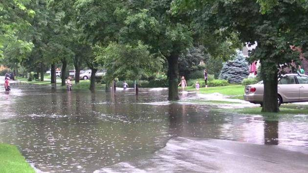 Heavy rains flooded streets around DuPage County last year, including here in Elmhurst.