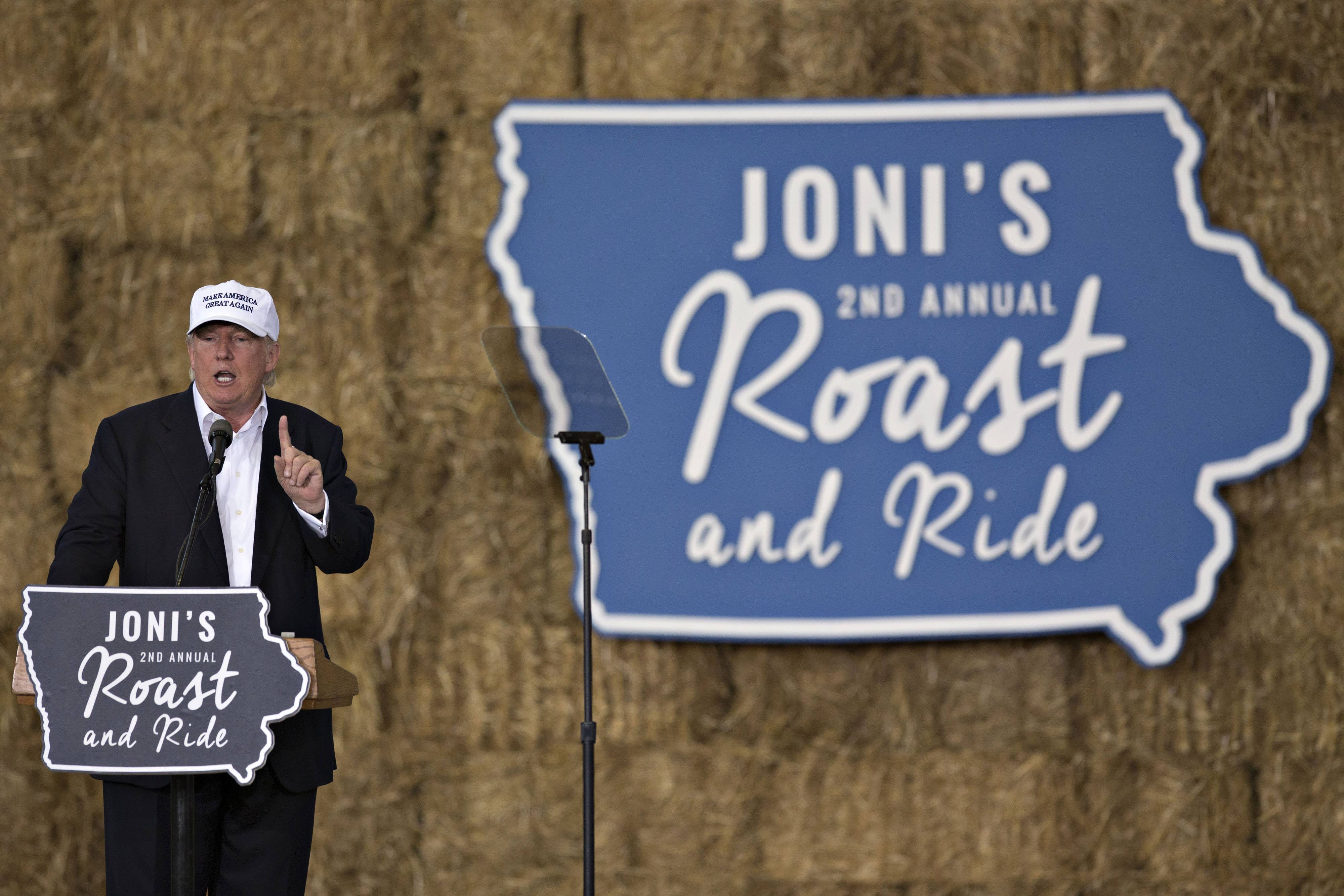 Republican presidential candidate Donald Trump speaks during the 2nd annual Roast and Ride in Des Moines, Iowa.