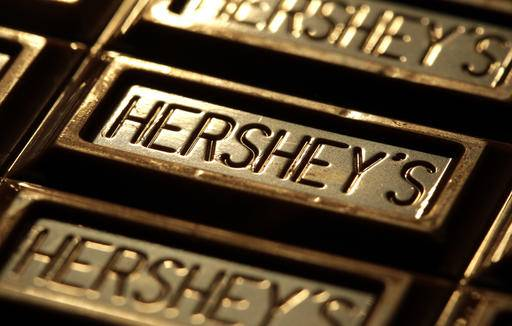 "FILE - This July 25, 2011, file photo shows Hershey's chocolate in Overland Park, Kan. Oreo cookie maker Mondelez says it has ended discussions of a possible merger with The Hershey Co. In a statement, Mondelez CEO Irene Rosenfeld said the company decided ""there is no actionable path forward toward an agreement"" following additional discussions. (AP Photo/Charlie Riedel, File)"