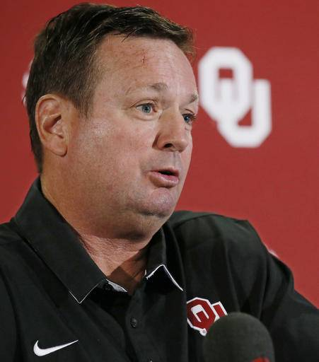 Oklahoma head coach Bob Stoops answers a question during an NCAA college football news conference in Norman, Okla., Monday, Aug. 29, 2016. Oklahoma begins the season against Houston, in Houston on Saturday. (AP Photo/Sue Ogrocki)