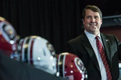 FILE - In this Dec. 7, 2015, file photo, new South Carolina coach Will Muschamp talks to the media during an NCAA college head football news conference at Williams Brice Stadium in Columbia, S.C. Muschamp is only a few days away from his second chance leading a Power Five program when South Carolina faces Vanderbilt. (AP Photo/Sean Rayford, File)