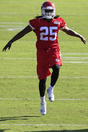 FILE - In this Aug. 17, 2016, file photo, Kansas City Chiefs running back Jamaal Charles warms up during NFL football training camp, in St. Joseph, Mo. The Chiefs feel like they have more talent across the board than at any point under general manager John Dorsey and head coach Andy Reid. (AP Photo/Orlin Wagner, File)