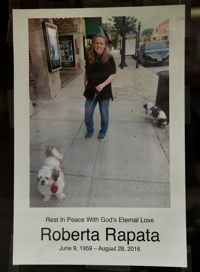 A memorial to Roberta Rapata, co-owner of the Catlow Theater and Boloney's Sandwich Shop in Barrington.