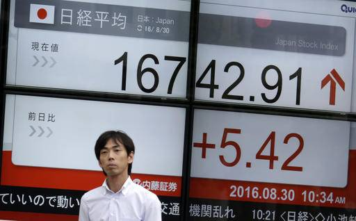 A man walks past an electronic stock board showing Japan's Nikkei 225 index at a securities firm in Tokyo, Tuesday, Aug. 30, 2016. Asian shares were mostly higher Tuesday as hopes continued for a U.S. Federal Reserve interest rate cut later this year. (AP Photo/Eugene Hoshiko)