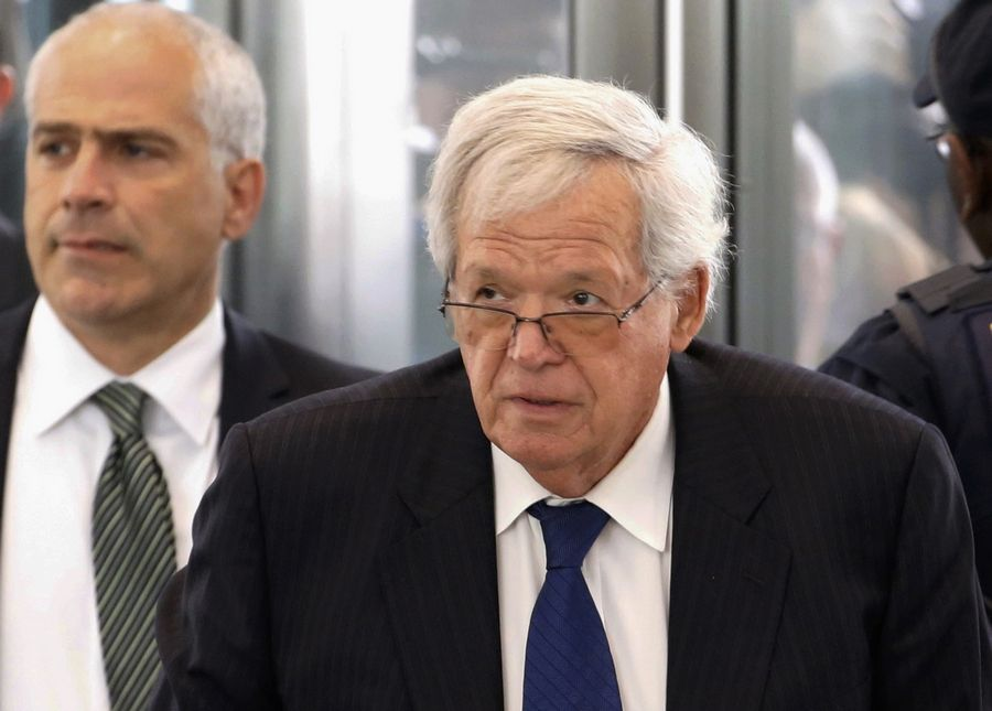 Former U.S. House Speaker Dennis Hastert arrives at the federal courthouse in Chicago for his arraignment in June 2015 on federal charges in his hush-money case in Chicago.