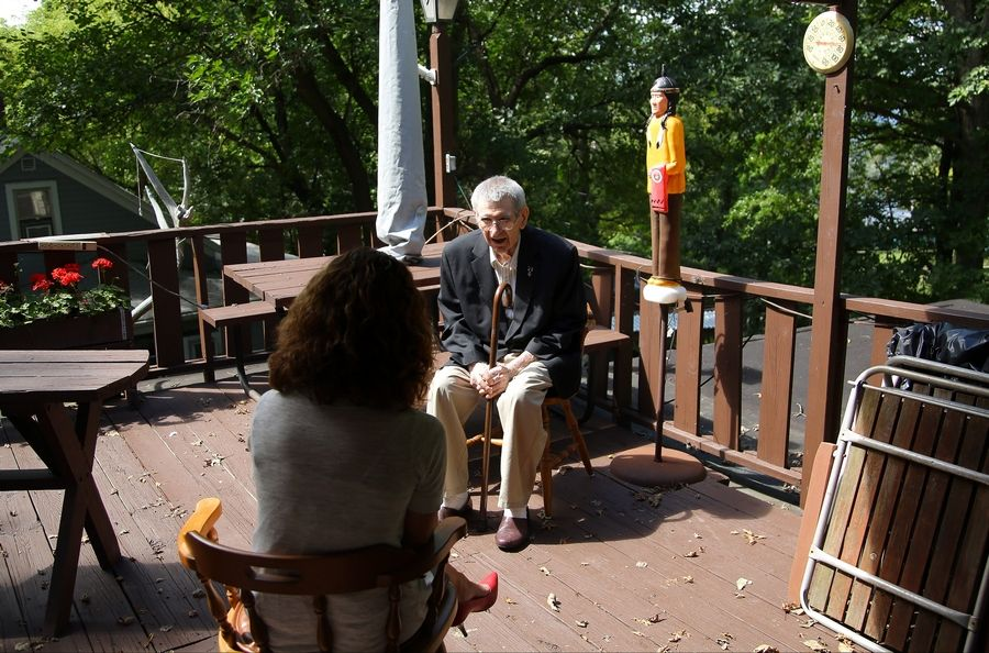 Loren Duke Abdalla, 91, talks with Daily Herald reporter Kerry Lester at his home in Fox Lake.