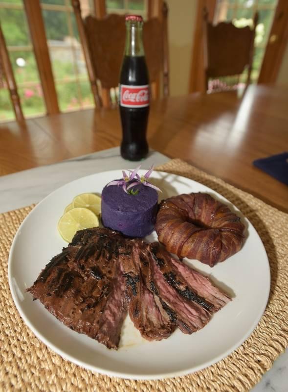Vanilla Coke Grilled Skirt Steak with Mashed Purple Yams and