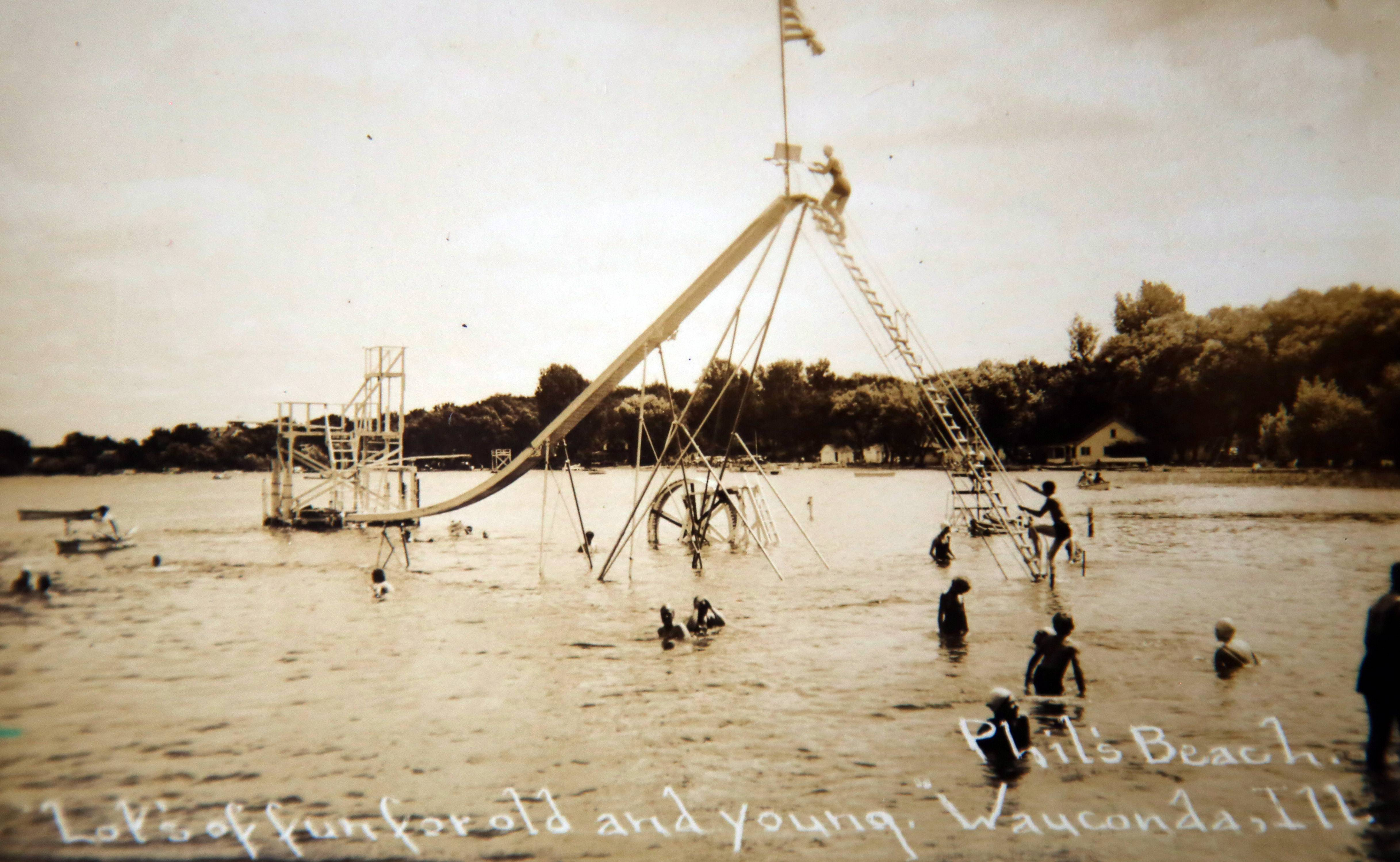 Phil's Beach in Wauconda, circa 1940. Once a popular recreation area, the beach has been closed to the public since 1990.