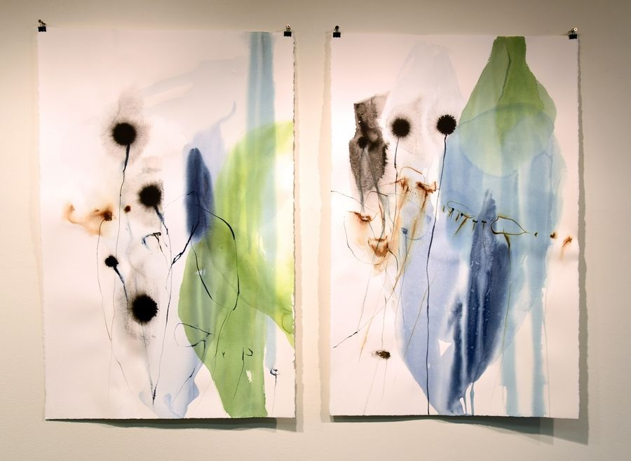 """Impromptu I"" and ""Impromptu II"" are watercolors on Arches paper by Geneva artist Ana Zanic. They're on display in the gallery at Wilson Hall at Fermilab in Batavia."