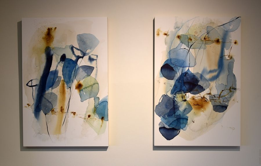 Watercolors by Geneva artist Ana Zanic are on display in the gallery at Wilson Hall at Fermilab in Batavia.
