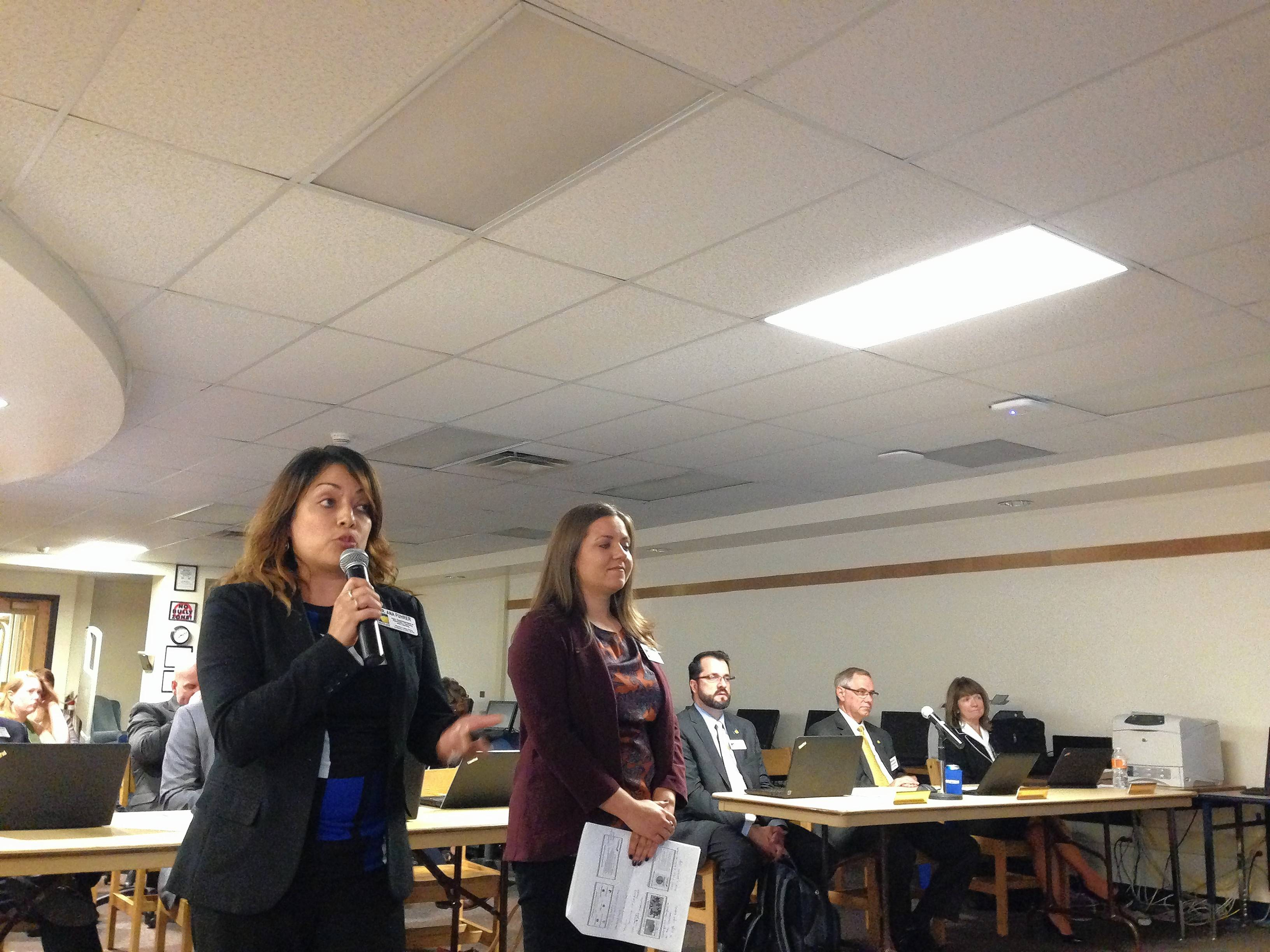 Ana Fuhrer, left, Round Lake Area Unit District 116's assistant superintendent of elementary teaching and learning, speaks about a new academic enrichment program Monday night. She's accompanied by District 116 elementary teaching and learning coordinator Melanie Lanni.